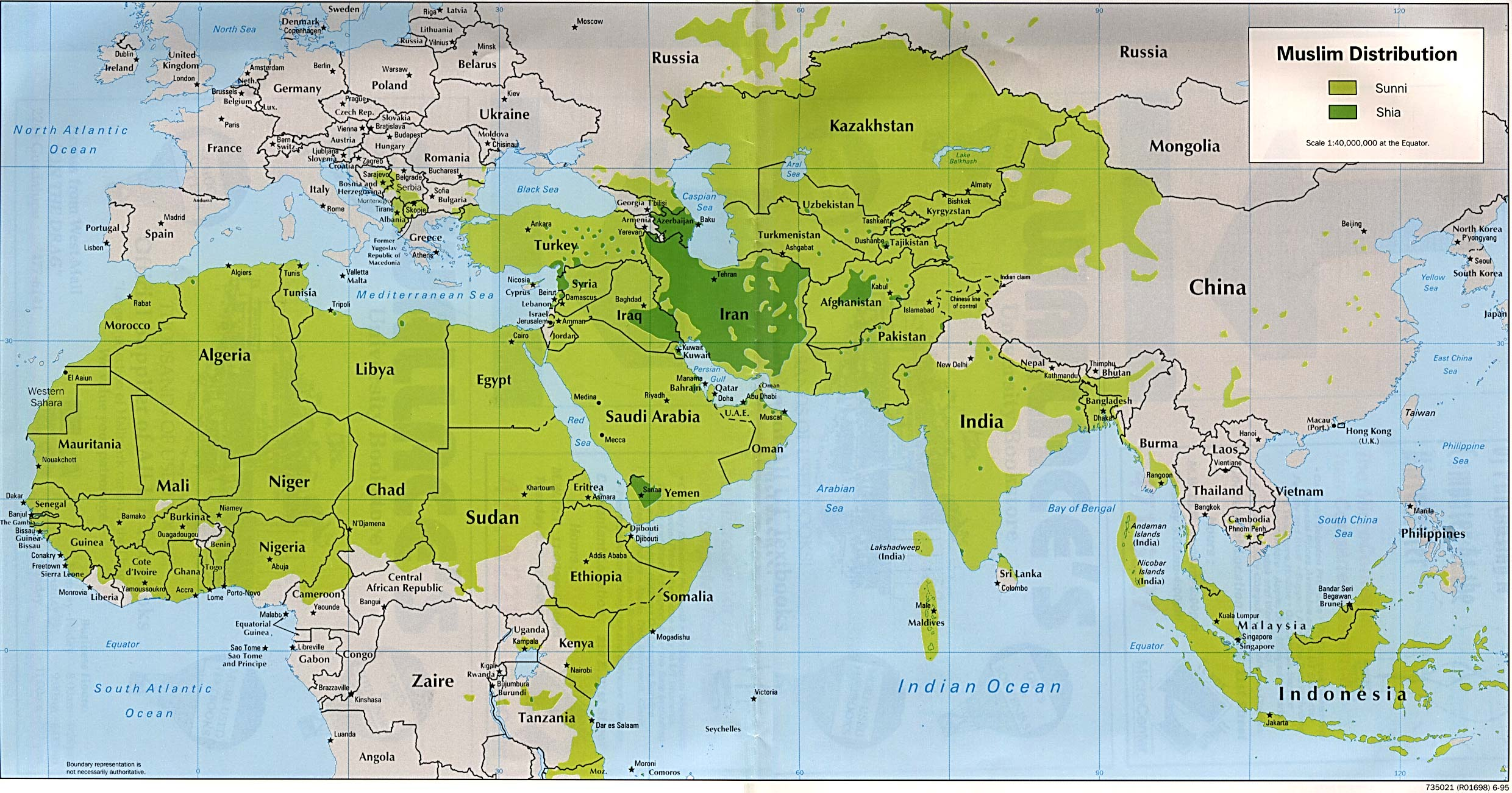 World map muslim distribution